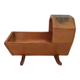 Miniature Mauchline Ware Cradle of Sycamore Wood