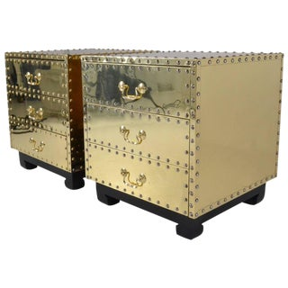Serried Pair of Small Brass Clad Chests, USA, 1970s