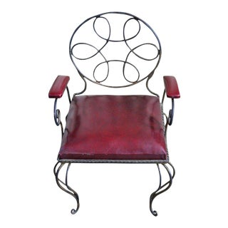 Unusual and Ornate Wrought Iron Armchair
