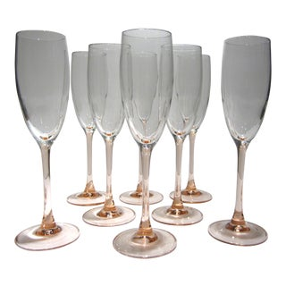French Pink Champagne Flutes - Set of 8