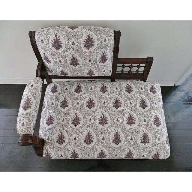 Vintage Eastlake Style Settee Upholstered in Tilton Fenwick Fabric - Image 3 of 8
