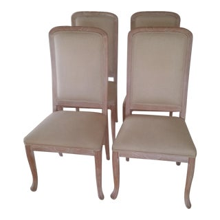 4 Almond Upholstered Dining Chairs