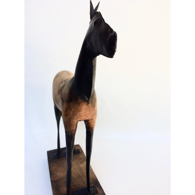 Vintage Wood and Metal Horse Sculpture - Image 4 of 6