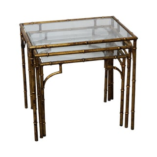 Hollywood Regency Gilt Metal Faux Bamboo Nesting Tables - Set of 3