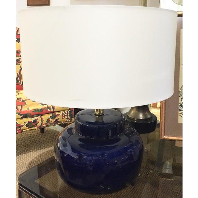 Mid Century Cobalt Blue Ceramic Lamp - Image 8 of 8