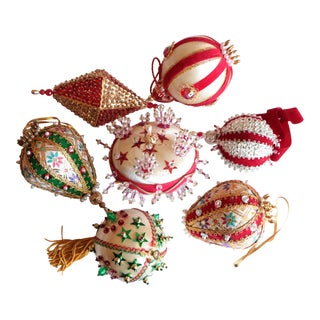 Vintage Beaded Christmas Ornaments - Set of 7