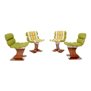 Set of 4 Sculptural Bent Plywood Chairs