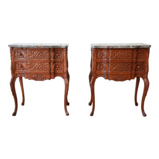 Carved Louis XV Style Marble Top Nightstands - A Pair