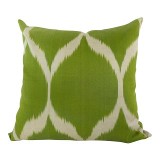 Woven Silk Green & White Ikat Pillow