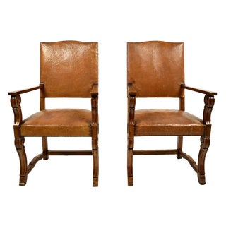French Leather Armchairs - A Pair