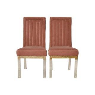 Charles Hollis Jones Brass & Lucite Chairs - Pair