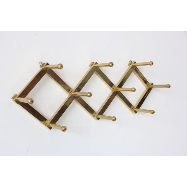 Image of Vintage Mid-Century Accordian Brass Wall Hook