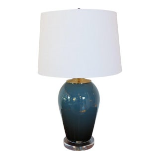 Deep Turquoise Teal Blue and Gold Leaf Glass Lamp