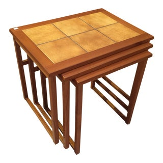Danish Modern Teak & Tile Nesting Tables - Set of 3