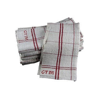 Hand-Spun French Linen Embroidered Red Tea Towels or Oversize Napkins - S/6