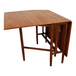 Danish Modern Teak Gateleg Drop-Leaf Dining Table