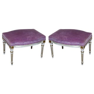French Louis XVI Style Painted Foot Stools - A Pair
