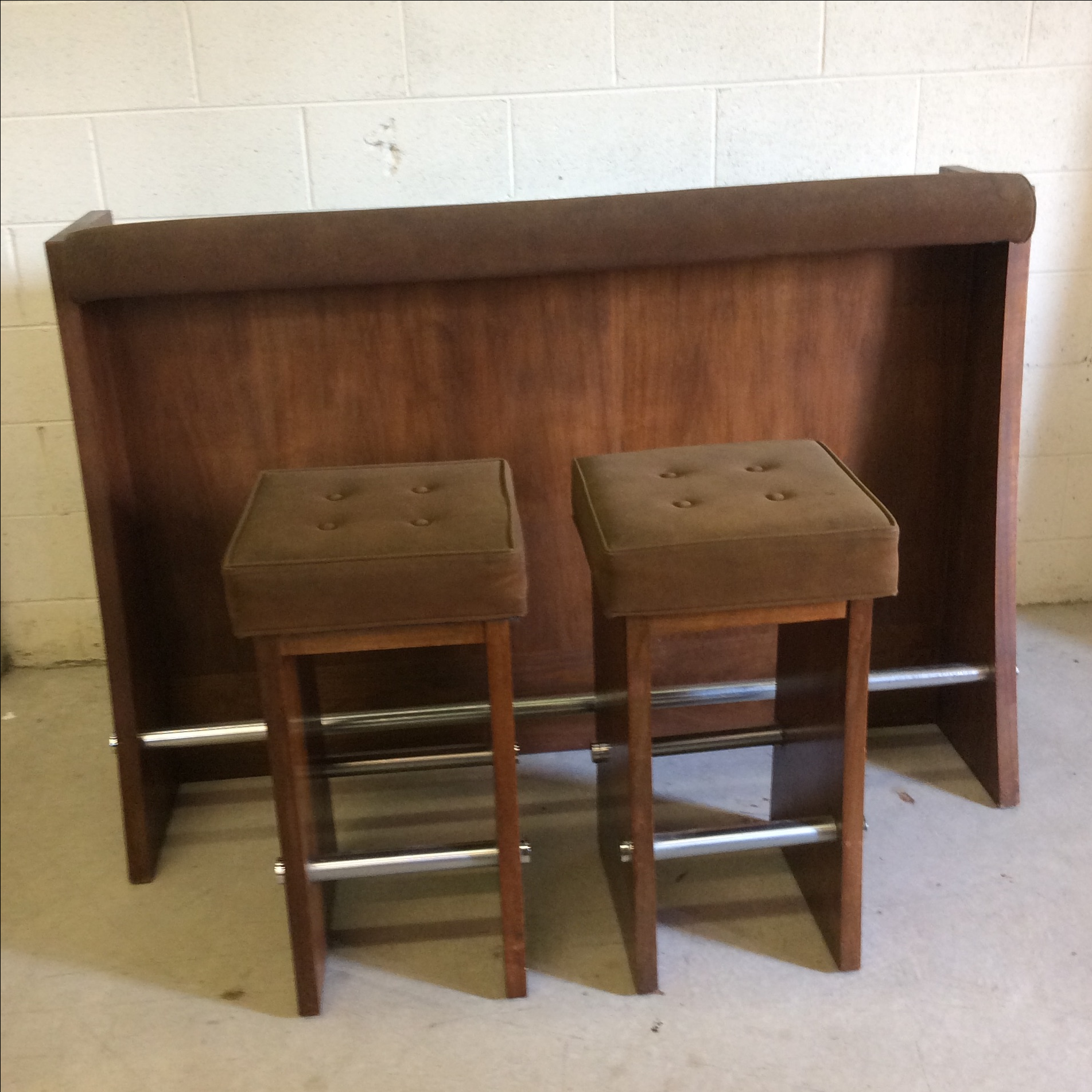 Lane Walnut And Suede Bar And Bar Stools S 3 Chairish