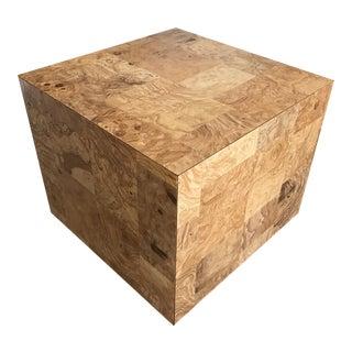 Vintage Patchwork Burl Cube Pedestal Side Table