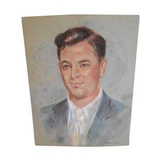 Original Mid-Century Pastel Portrait