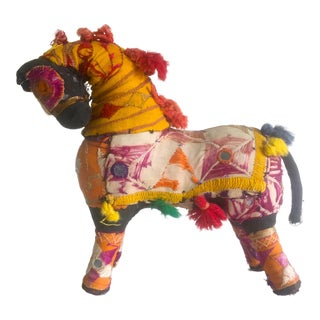 Vintage Indian Patchwork Horse Figurine