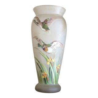 Flying Ducks French Art Glass Vase