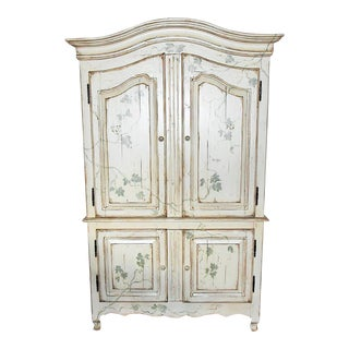 Paint Decorated Linen Press Armoire