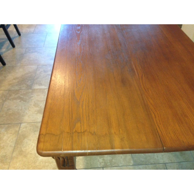 Antique 1900s Solid Wood Dining Table - Image 4 of 6