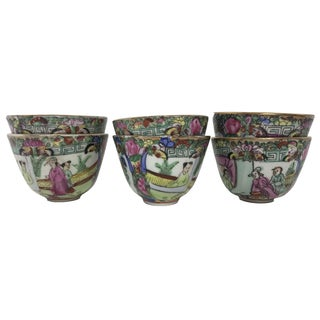 Vintage Rose Medallion Porcelain Tea Cups - Set of 6
