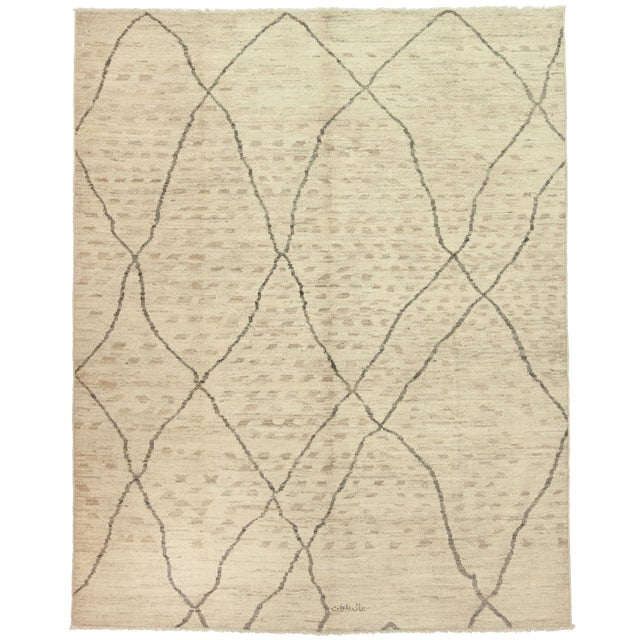 "Moroccan Hand Knotted Area Rug - 7'9"" X 9'9"" - Image 1 of 3"