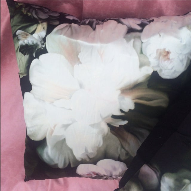 Silk Floral Print Pillows by Ellie - Pair - Image 3 of 5