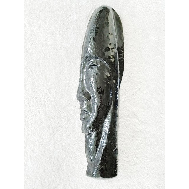 Image of Mid-Century Modern Ceramic African Mask Wall Sculpture