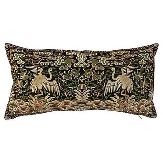 Gold Metallic Silk Crane Boudoir Pillow