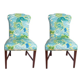 George III Brunschwig & Fils Fabric Upholstered Side Chairs - A Pair