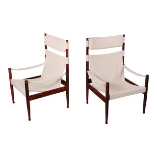 High Back Rosewood Safari Chairs by Niels Eilersen