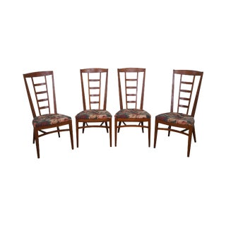 Drexel Mid-Century Modern Solid Walnut Dining Chairs - Set of 4