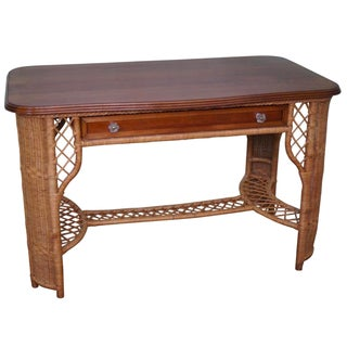 Henry Link Cherry Wood Top Wicker Writing Desk