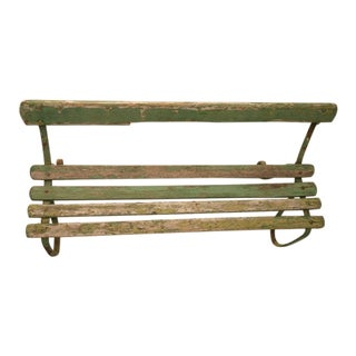 Original English Park Bench w/Warm & Inviting Worn Green Paint