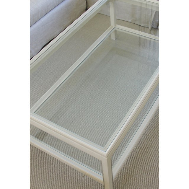 Country Swedish Painted Wood & Glass Coffee Table - Image 7 of 8