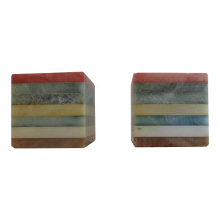 Rainbow Alabaster Bookends - A Pair