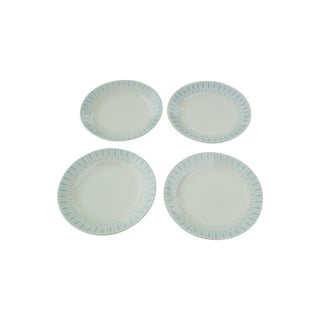 Vintage 1950s Atomic Turquoise Plates - Set of 4