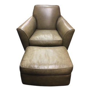 Ted Boerner Cello Leather Chair & Ottoman