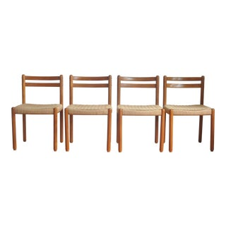 Neils Moller Style Danish Corded Teak Dining Chairs - Set of 4