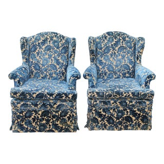 Cut Crushed Velvet Wingback Chairs - A Pair