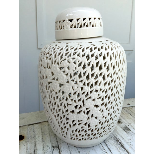 White Porcelain Pierced Design Ginger Jar - Image 2 of 6