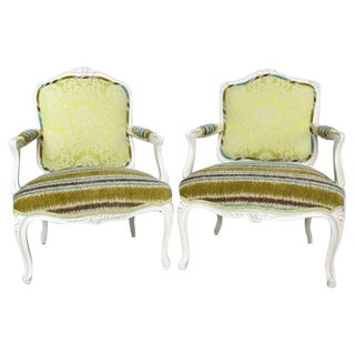 19th French Bergere Chairs - Pair