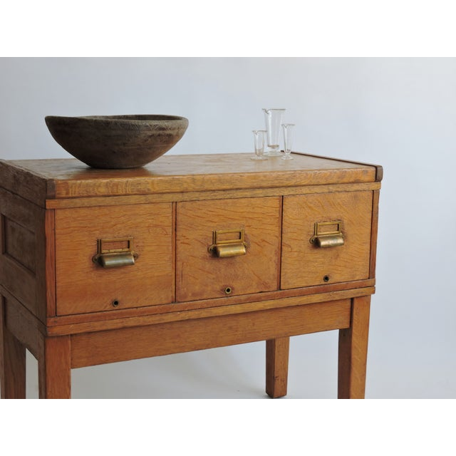 Image of Tiger Oak Filing Cabinet Library Table Circa 1919