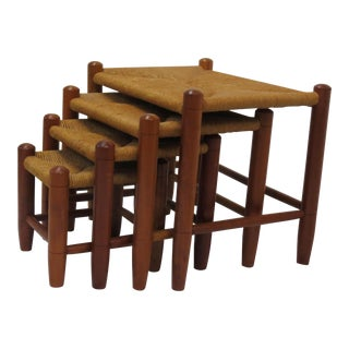 Rush & Cherry Nesting Stools - Set of 4