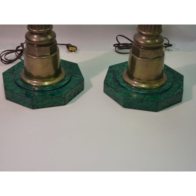 Brass Column Lamps W. Faux Malachite Bases -A Pair - Image 4 of 4
