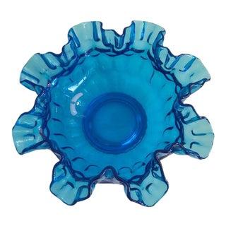 Vintage Scalloped Blue Glass Bowl
